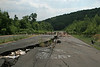 A large crack in Route 61 in Centralia, PA shows the damage done by the underground mine fire