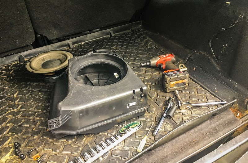 First remove the sub from it's trunk mounts. I also removed the Sub itself, since I need to drill new mounting holes.