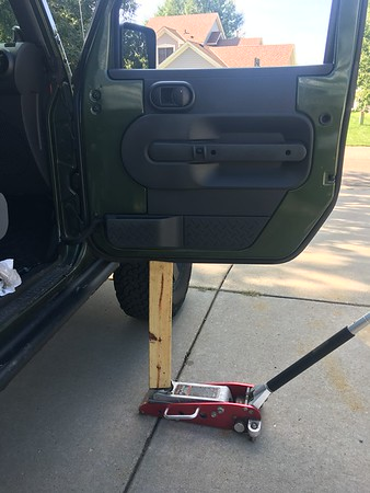 Passenger door did not want to come off. The hinge was so seized I had to use a jack and still would not come off the lower hinge. I said screw it and bought a new lower hinge.