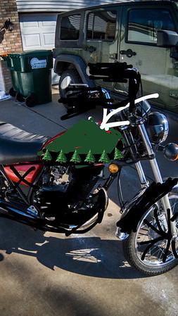 My original idea. Green tank, black pine trees, black everything else