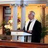 First Church Rev. Bob Johansen offered a history of the Bulfinch Meeting House during a rededication of the 200-year-old structure on Sunday in Lancaster.