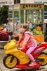 Children's entertainment on the pedestrian mall of Pomorie, Bulgaria.