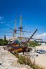A beach fish restaurant on a three masted schooner sailing vessel at the Black Sea port of Varna, Bulgaria.