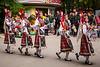 Members of a Bulgarian ethnic dance troupe performing in the Sea Garden park in Varna, Bulgaria.