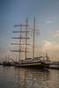 A large sailboat schooner docked at the Black Sea port of Varna, Bulgaria.