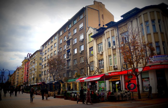 Vitosha Road, a pedestrian street lined with restaurants and cafes in Sofia, Bulgaria.