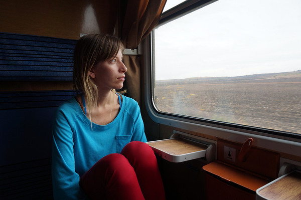 Audrey enjoying the scenery on our train ride