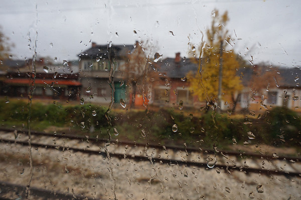 Droplets of rain outside our train window in Bulgaria