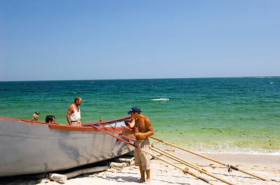 Europe, Romania, Black Sea Coast, Vama Veche fishing village and beach, fisherman