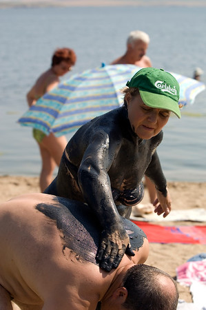 Europe, Romania, Black Sea Coast, Lake Techirghiol near Eforie Nord, therapeutic black mud treatment