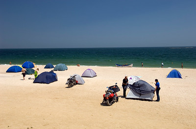 Europe, Romania, Black Sea Coast, camping on a beach in Vama Veche