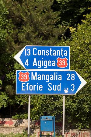 Europe, Romania, Black Sea Coast, road sign