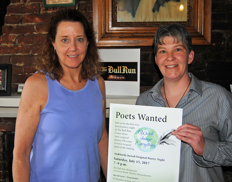 NASHOBA VALLEY VOICE/ANNE O'CONNOR<br /> The Bull Run will add poetry to its entertainment menu this summer. Poet Kristie Connolly, left, pitched the idea to innkeeper Alison Tocci, who loved it.
