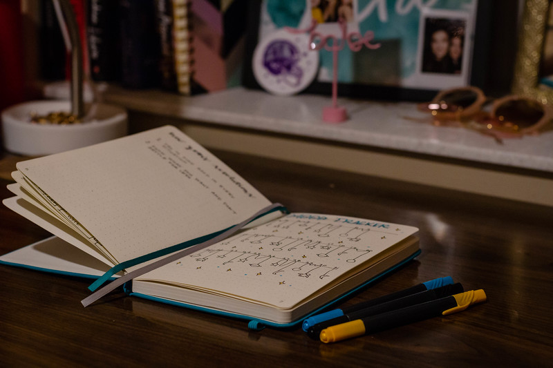 Many college students keep bullet journals to track their moods and habits. Bullet journaling is a great way to stay organized and to relieve stress by doodling and expressing creativity. (Mary Kate Zach | Collegian Media Group)