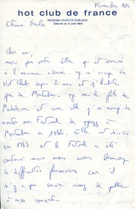Correspondence with the Hot Club de France in 1984