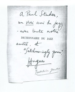 note from Hugues Panassie to Studer