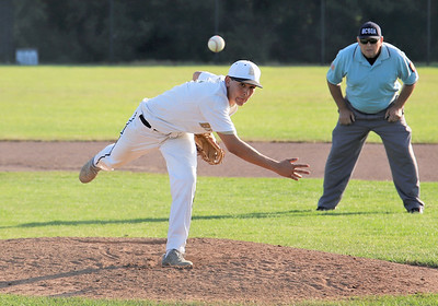 Butler reliever Remy Pardo fires a pitch against Karns City Tuesday. Seb Foltz/Butler Eagle
