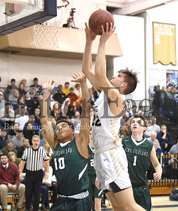 Butler #22 Charles Kreinbucher shoots over  Pine Richland #10 Levi Wentz  in a section boys basketball game at Butler High School on Tuesday  January 29 .2019.(Justin Guido photo)