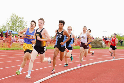 Boys 1600 meter Patrick Anderson of Mt. Lebanon finished first (left) Zach Kinne of NA second. Sam Owori third, Connor Volk-Klos fourth. Seb Foltz/Butler Eagle.