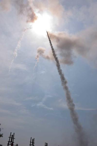 Three Rockets Skyward