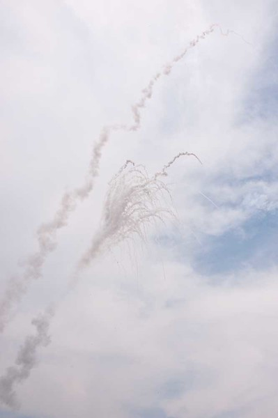 Mid-Air Rocket Explosion