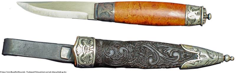 Tradisjonell Telemark kniv med sølv på holk og slire