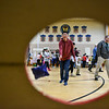 Meredith Weiss, a teacher at Reingold Elementary brings along foreign exchange student Ryotaro Araki of Japan to enjoy a day of fun at the annual Bunny Breakfast on Saturday at Reingold Elementary School in Fitchburg.  SENTINEL & ENTERPRISE JEFF PORTER