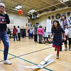 Casey Rite, 6, a kindergertener at Reingold Elementary School catapults  a bean bag at the annual Bunny Breakfast on Saturday at Reingold Elementary School in Fitchburg.  SENTINEL & ENTERPRISE JEFF PORTER