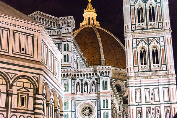 Cathedral, Bell Tower and Baptistery at night in Florence, Italy