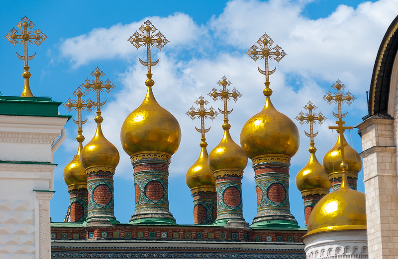 Cupolas of the Upper Saviour Cathedral,  Moscow Kremlin, Moscow, Russia