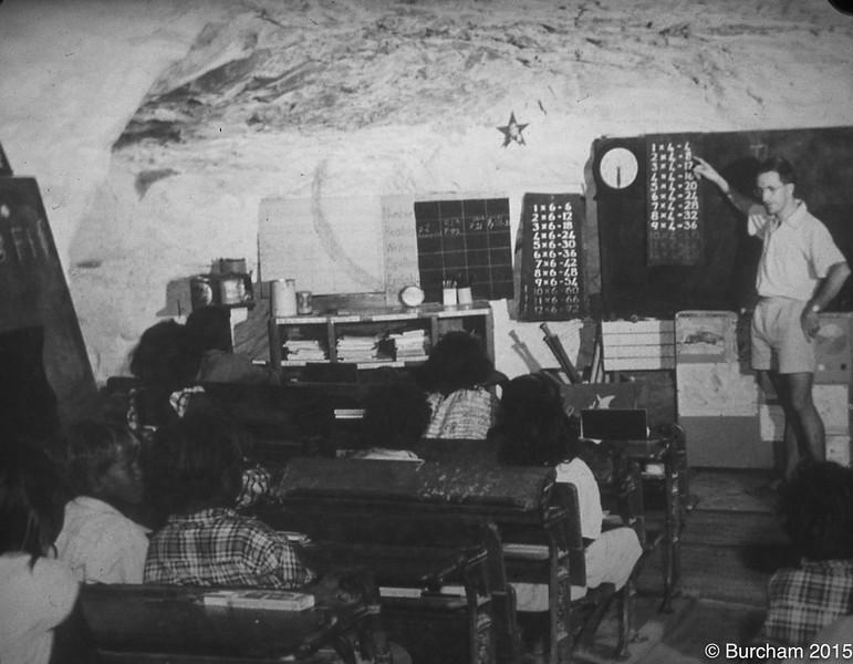 1958 Cyril Burcham teaching his class at Gogo