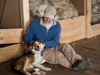 John and sheep dog in Chile 2008