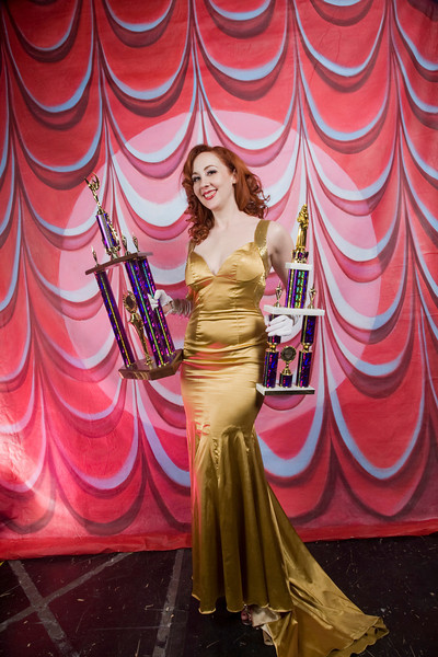 Burlesque Hall of Fame Weekend at The Orleans Hotel and Casino in Las Vegas, 2012. Miss Ruby Joule of Austin TX. with trophies for Most Classic as well as Best Debut.