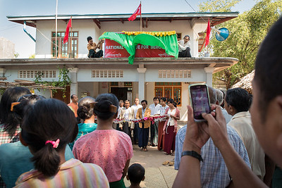 National League for Democracy opening a meeting in a village outside Bagan