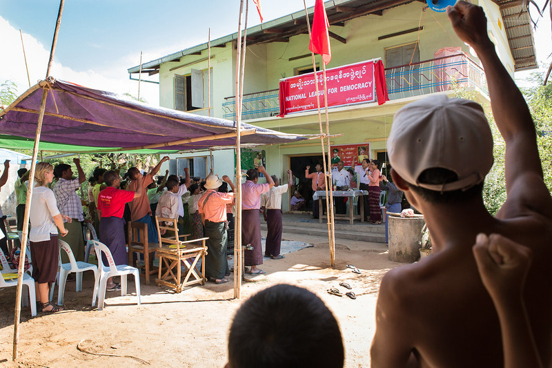 National League for Democracy meeting in a village outside Bagan