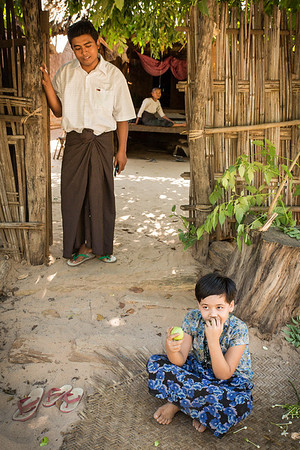 Three people representing three generations in a village outside Bagan