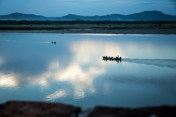 After sunset on Irrawaddy river in Bagan