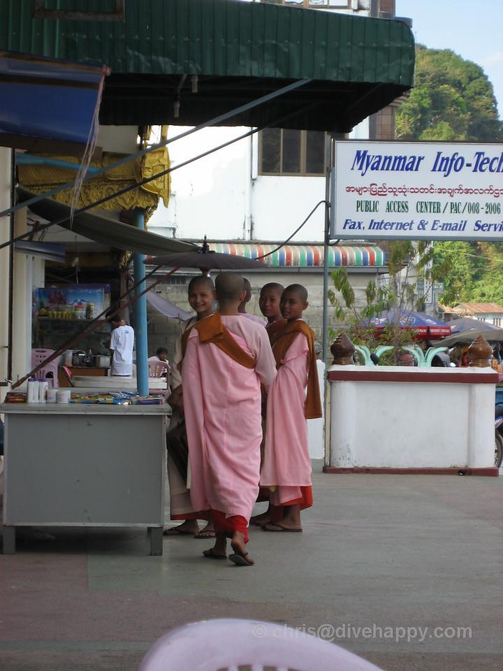 Female monks in Kawthaung town, Burma