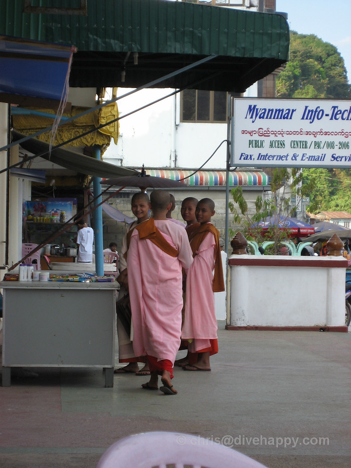 Female monks in Kawthaung town, Burma