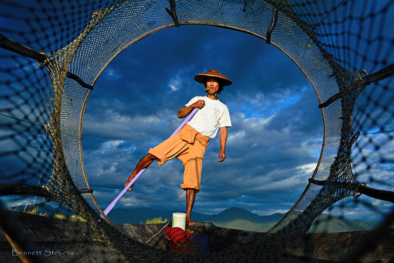 Through the Net - Intha at Inle, Myanmar