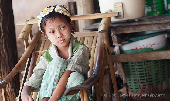 One of four children living in a teahouse on the grounds of U Ponya Shin Paya in Sagaing