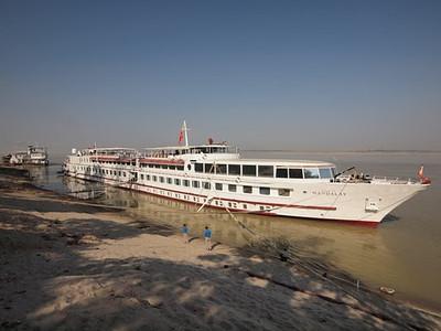Road To Mandalay cruiser moored at Bagan  [photo credit: Kevin Revolinski]