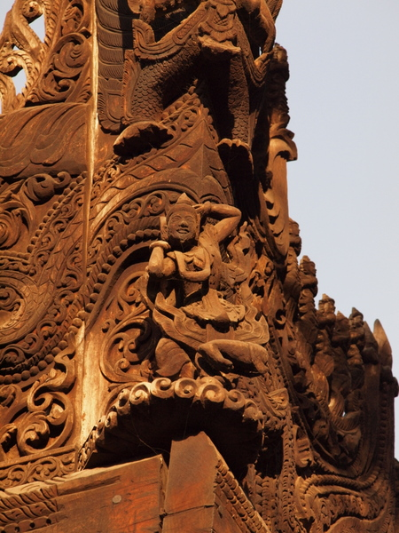 Details from the wood carving at Shwenandaw Monastery [photo credit: Kevin Revolinski]
