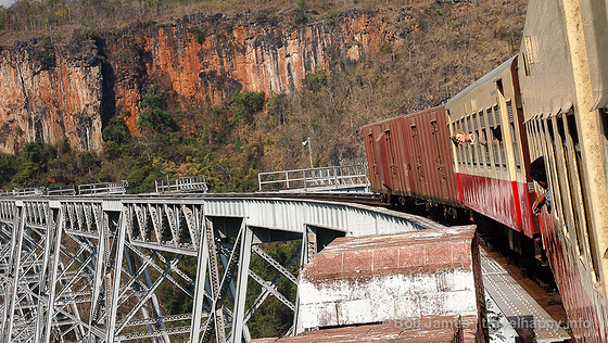 The final cars of the train to Mandalay make it successfully over the Gokteik Viaduct