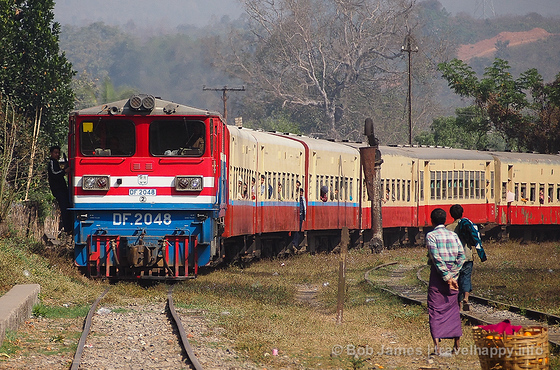 Never on time, the train to Mandalay finally arrives in Hsipaw, only 80 minutes late