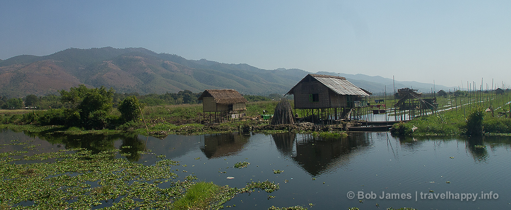 """Inle Lake is filled with """"floating villages"""" with houses built on stilts"""