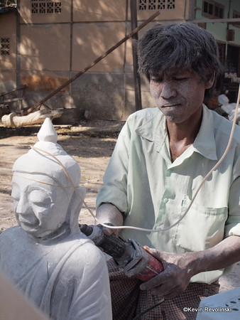 Stone carvers near Mandalay (photo credit: Kevin Revolinski)