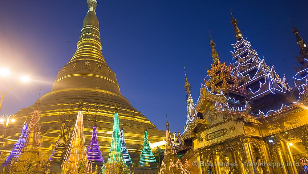 Myanmar's holiest site: Yangon's Shwedagon Paya just after sunset