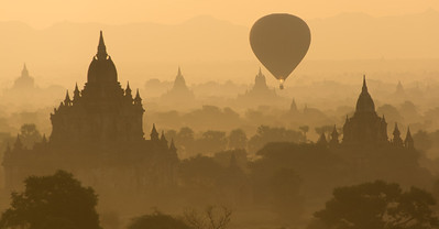 Sunrise over the temples of Bagan, Burma.