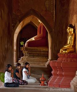 Burmese Girls In Temple